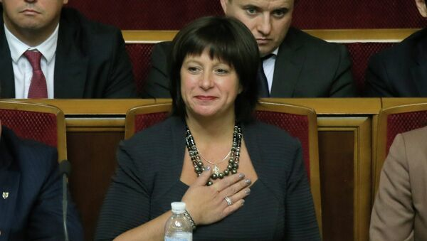 Ukraine's newly-appointed Finance Minister Natalie Jaresko, a U.S. national with experience working for the State Department in Washington, during a parliament session in Kiev, Ukraine - Sputnik International