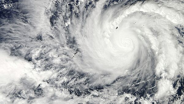 This image captured by NASA's Aqua satellite shows Typhoon Hagupit on Wednesday, Dec. 3, 2014 at 04:30 UTC in the western Pacific Ocean. - Sputnik International
