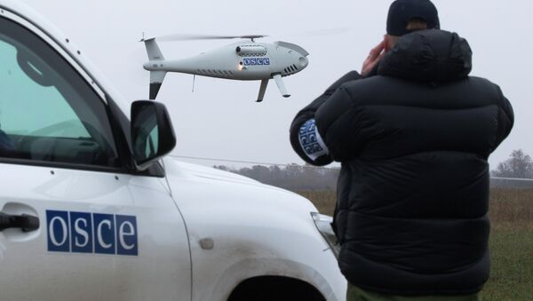 A member of the Organization for Security and Co-operation in Europe (OSCE) mission to Ukraine watches a drone take off during a test flight near the town of Mariupol, eastern Ukraine, Thursday, Oct. 23, 2014 - Sputnik International