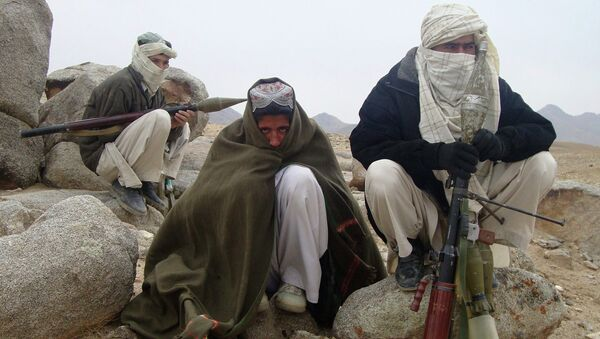 Taliban fighters pose with weapons - Sputnik International