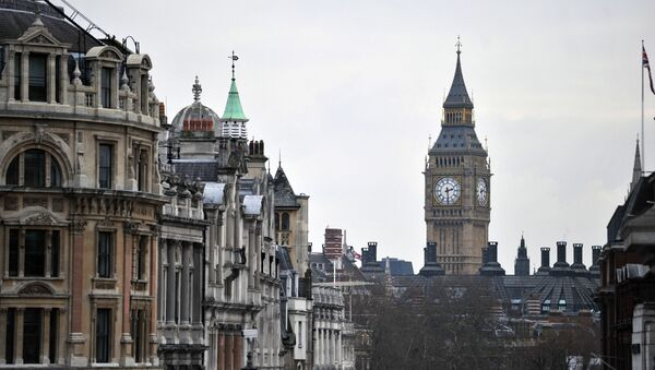 Whitehall and the clock tower of the Westminster Palace with the Big Ben bell as seen from Trafalgar Square - Sputnik International