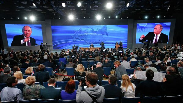 Russian President Vladimir Putin held the tenth annual press conference. The president talked about several important issues, including Ukraine, the fall of ruble, economic problems and relations with the West. - Sputnik International