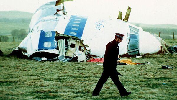 A police officer walks by the nose of Pan Am flight 103 in a field near the town of Lockerbie - Sputnik International