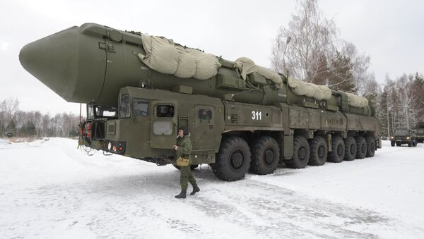 Mobile launcher 'Yars' missile system on the territory of Teykovo air defence missile formation in Ivanovo region. - Sputnik International