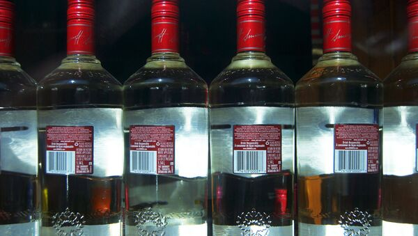 The bottles of counterfeit drink were disguised as popular vodka brands, such as Glens, Kommissar and Smirnoff. Above: Vodka bottles - Sputnik International