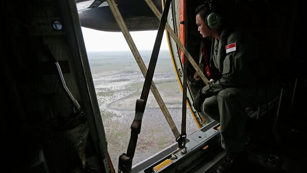 A Republic of Singapore Air Force personnel surveys the waters during a search and locate operation for the missing AirAsia flight QZ8501 plane at an undisclosed search area December 30, 2014 - Sputnik International