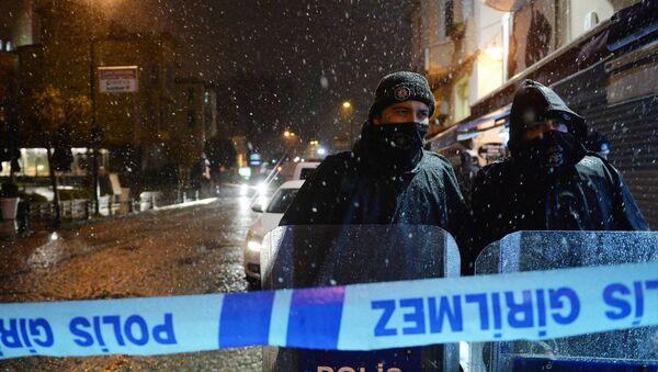 ISTANBUL, Jan. 6, 2015 -- Policemen stand on alert outside the accident site in Istanbul, Turkey on Jan. 6, 2015 - Sputnik International