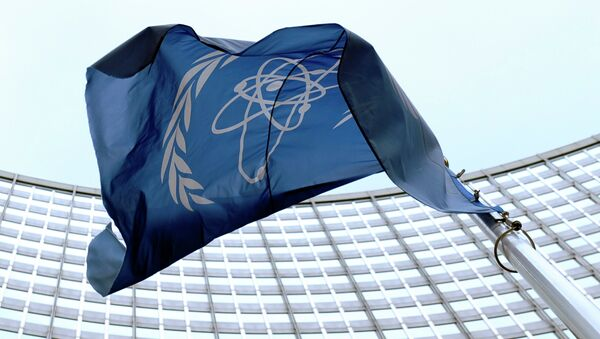 The flag of the International Atomic Energy Agency (IAEA) flies in front of the Vienna headquarters at the Vienna International Center. (File) - Sputnik International