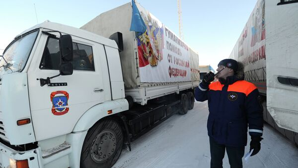 Trucks from the 11th Russian convoy that has delivered humanitarian aid to Donbas (Ukraine's southeastern regions) have returned to Russia - Sputnik International