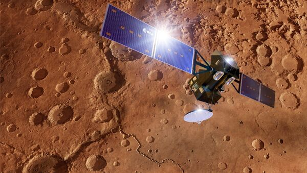 ExoMars TGO spacecraft at Mars, artwork - Sputnik International