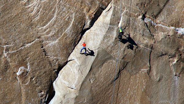 In this Dec. 28, 2014 photo provided by Tom Evans, Tommy Caldwell - Sputnik International
