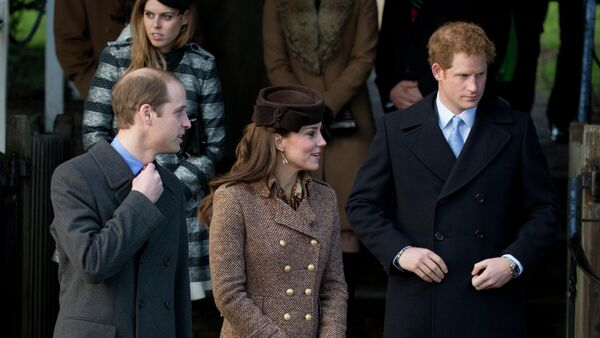 Britain's Prince William, left, his wife Kate Duchess of Cambridge and brother Prince Harry leave after attending the British royal family's traditional Christmas Day church service - Sputnik International