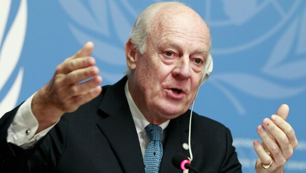 United Nations Special Envoy of the Secretary-General for Syria Staffan de Mistura speaks to media during a news conference at the Palais des Nations in Geneva, January 15, 2015 - Sputnik International
