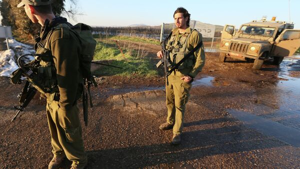Israeli troops patrol the Israeli-occupied sector of the Golan Heights on January 18, 2015. - Sputnik International