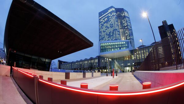 In this picture taken with a fisheye lens the new headquarters of the European Central Bank is photographed in Frankfurt, Germany . file photo - Sputnik International