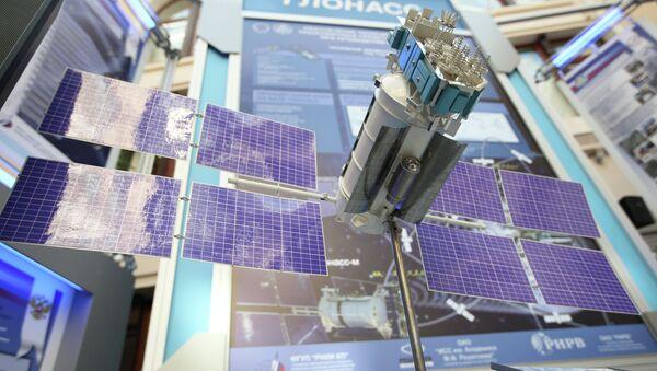 A GLONASS [Global Navigation Satellite System] satellite mock-up on display at the exhibition Space -- Elections -- Telecommunications - Sputnik International