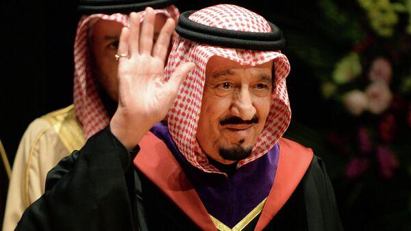 A file picture taken on February 21, 2014, shows Saudi Crown Prince Salman bin Abdulaziz waving as he visits Waseda University in Tokyo - Sputnik International