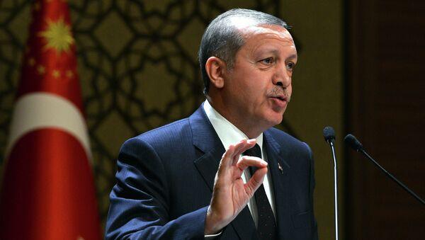 In this Thursday, Dec. 25, 2014 photo provided by the Presidential Press Service, Turkey's President Recep Tayyip Erdogan addresses a meeting at his new palace in Ankara, Turkey - Sputnik International
