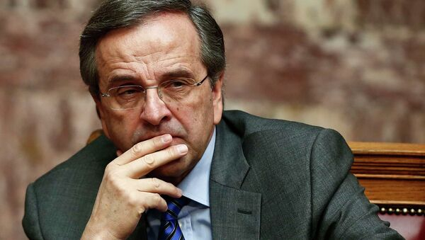 Greece's Prime Minister Antonis Samaras reacts during the second of three rounds of a presidential vote at the Greek parliament in Athens December 23, 2014 - Sputnik International