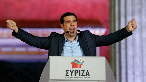 The head of radical leftist Syriza party Alexis Tsipras speaks to supporters after winning the elections in Athens - Sputnik International