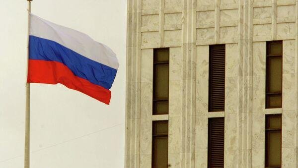 The Russian Federation flag flies above the Russian embassy in Washington, DC. - Sputnik International