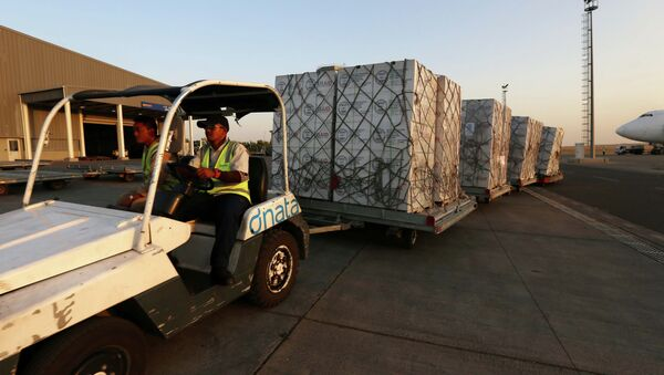 Airport personnel tow 60 tons of humanitarian supplies from USAID - Sputnik International