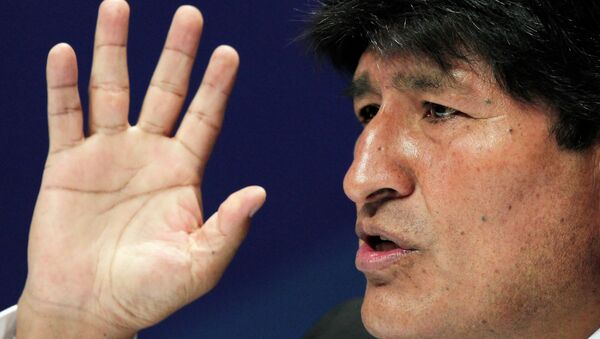 Bolivia's President Evo Morales gestures during a press conference at the Community of Latin American and Caribbean States (CELAC) summit in San Antonio de Belen Heredia province, January 29, 2015 - Sputnik International