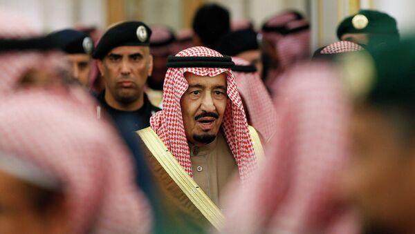 New Saudi King Salman attends a ceremony with world leaders offering their condolences following the death of the late Saudi King, Abdullah bin Abdulaziz, at the Diwan royal palace in Riyadh January 24, 2015 - Sputnik International