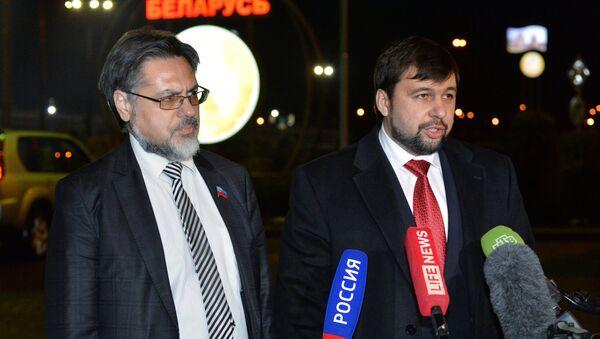 DPR and LPR representatives hold news conference at Minsk airport - Sputnik International