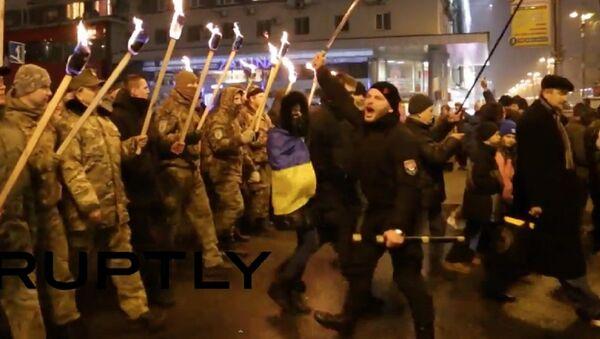 Nationalists stage torch-lit rally in Ukrainian capital - Sputnik International