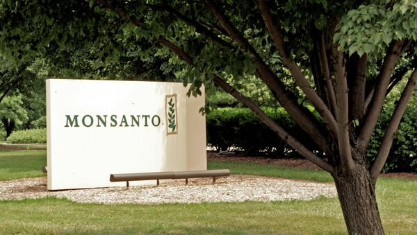 A sign at the Monsanto Co. headquarters located in St. Louis, Missouri.    - Sputnik International