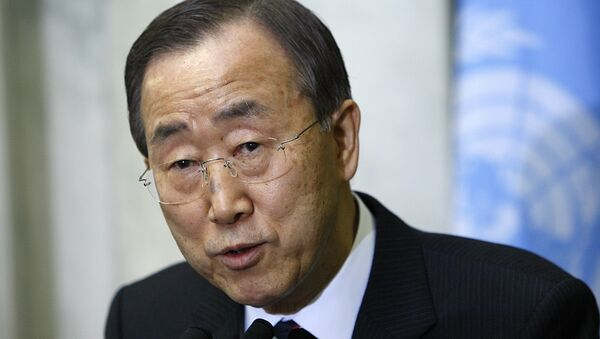Генеральный секретарь ООН Пан Ги Мун выступает перед журналистами в штаб-квартире ООН в Нью-Йорке - Sputnik International