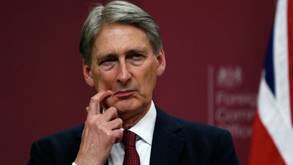 Britain's Foreign Secretary Philip Hammond gestures during a press conference at the Foreign and Commonwealth Office in London  - Sputnik International