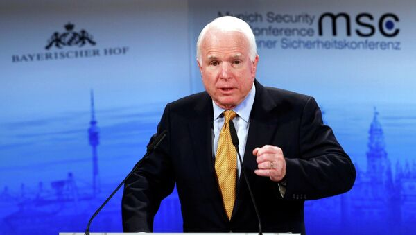 The chair of the Senate Armed Services Committee Senator John McCain addresses during the 51st Munich Security Conference at the 'Bayerischer Hof' hotel in Munich February 8, 2015 - Sputnik International