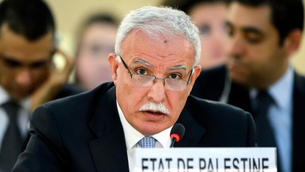Palestinian Foreign Minister Riyad al-Maliki delivers a speech during an emergency session of the United Nations (UN) Human Rights Council on the Gaza crisis at the UN Offices in Geneva on July 23, 2014 - Sputnik International