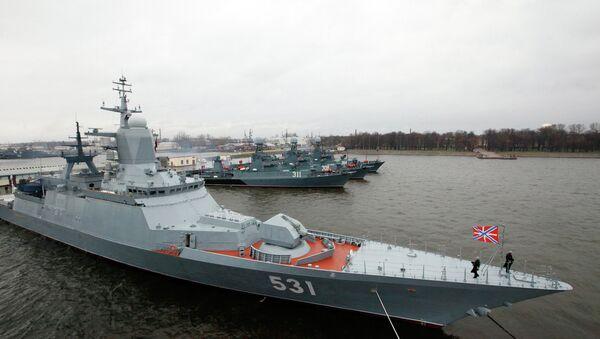 Naval ships in Kronshtadt port prepared for voyage - Sputnik International