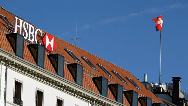 A HSBC logo is pictured at a Swiss branch of the bank, in Geneva February 9, 2015 - Sputnik International