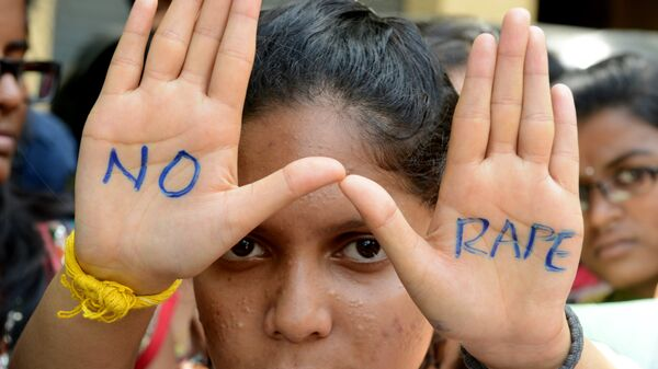 Indian students of Saint Joseph Degree college participate in an anti-rape protest in Hyderabad on September 13, 2013 - Sputnik International