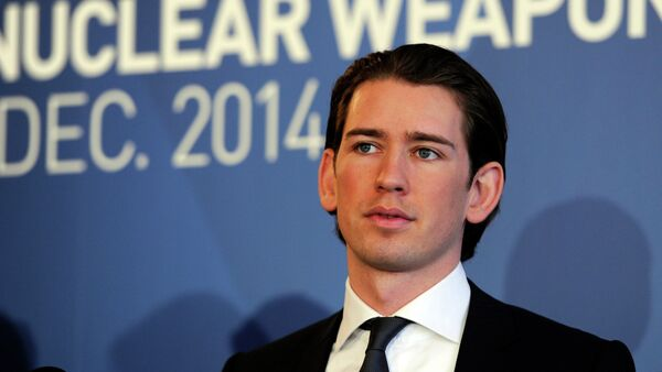 Austria's Minister for Foreign Affairs and Integration Sebastian Kurz speaks at the International conference on the humanitarian impact of nuclear weapons, on December 8, 2014 in Vienna - Sputnik International