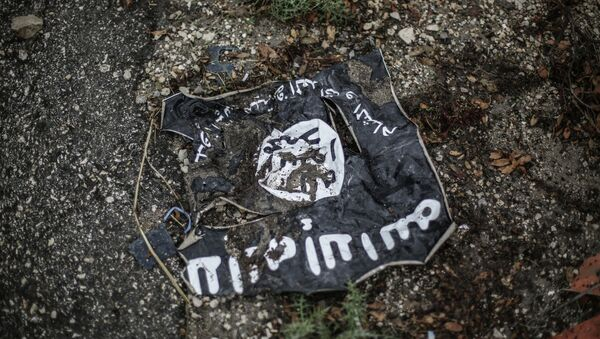 Flag of the Islamic State in the conflict zone in Latakia, Syria - Sputnik International
