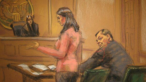 Judge Sarah Netburn listens to defence attorney Sabrina Shroff as Evgeny Buryakov sits in court in New York, January 26, 2015 - Sputnik International
