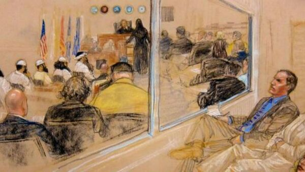 A courtroom drawing depicts the pre-trial hearing of the five alleged plotters in the September 11, 2001, attacks. - Sputnik International
