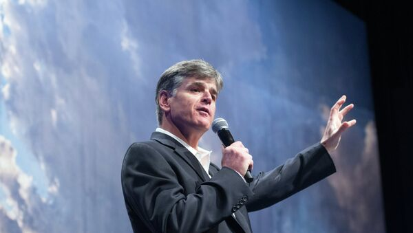 Political commentator Sean Hannity addresses the crowd while delivering his speech, Get America Back to Work, Thursday, May 22, 2014, during the 22nd Williston Basin Petroleum Conference held in Bismarck, N.D. - Sputnik International