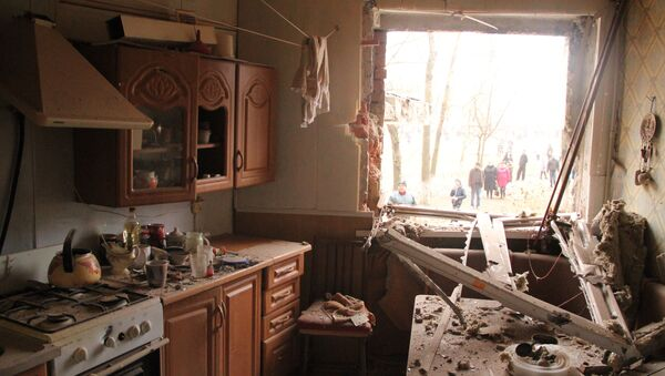 An apartment in the residential building on Bessonova Street, destroyed in the Ukrainian army's shelling of the town of Horlivka - Sputnik International