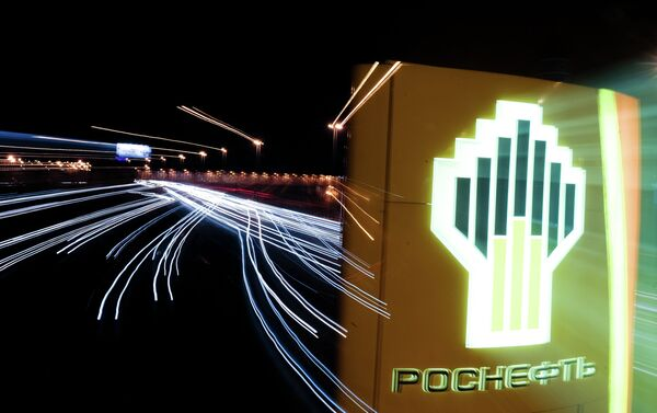 The sign of a Rosneft gas station in Moscow - Sputnik International