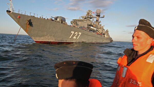 Baltic Fleet's guard ship Yaroslav Mudry during military exercise - Sputnik International