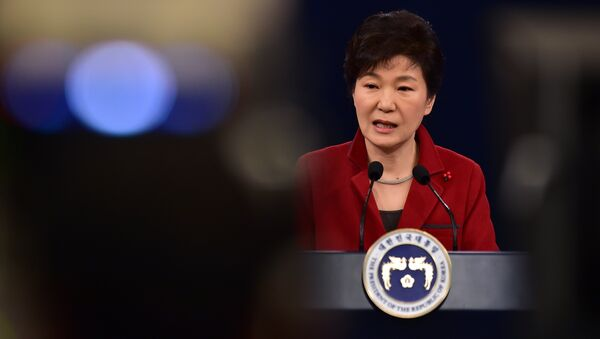 South Korean President Park Geun-Hye speaks during her New Year press conference at the presidential Blue House in Seoul on January 12, 2015 - Sputnik International