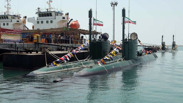 A new Iranian submarine, Ghadir, is unveiled during a ceremony in the southern port city of Bandar Abbas on August 8, 2010 - Sputnik International