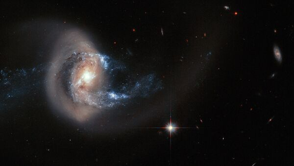 This NASA Hubble Space Telescope photo of NGC 7714 presents an especially striking view of the galaxy's smoke-ring-like structure - Sputnik International