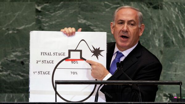 In Sept. 2012, Prime Minister Benjamin Netanyahu of Israel shows an illustration as he describes his concerns over Iran's nuclear ambitions during his address to the 67th session of the United Nations General Assembly at U.N. headquarters. - Sputnik International